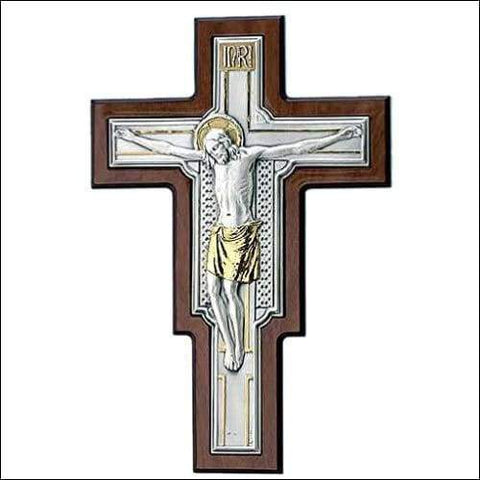 Gilded Silver Holy Crucifix Wall Sculpture
