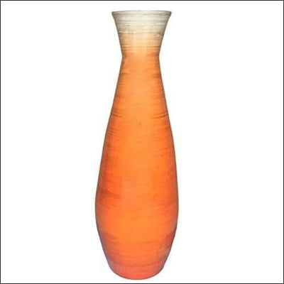 Glossy Orange Bamboo Floor Flower Vase