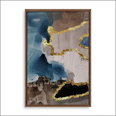 Golden Abstract Framed Canvas Painting