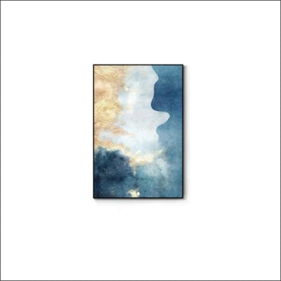 Handmade Golden Blue Abstract Framed Canvas Painting