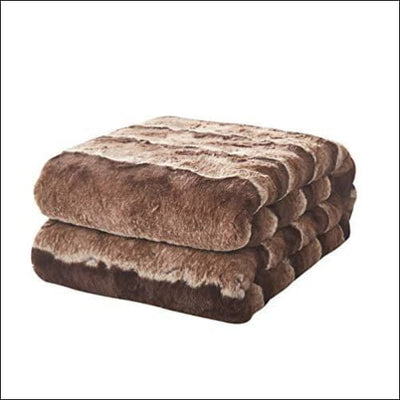 Golden Brown Striped Faux Fur Throw Blanket