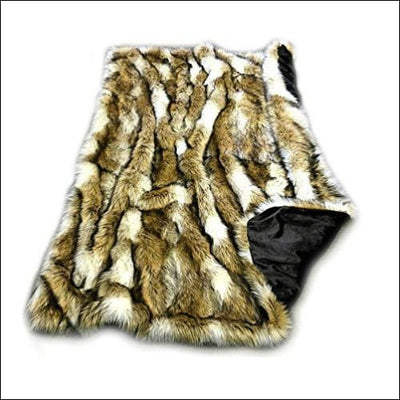 Golden Brown Off White Faux Fur Throw Blanket