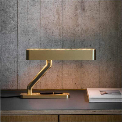 Golden Raw Brass Banker Table Lamp