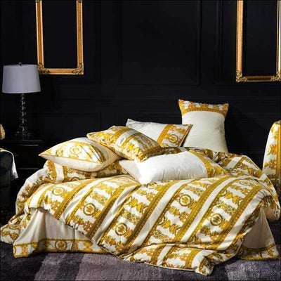 Golden Stripe Embroidery Duvet 4PC Bedding Set