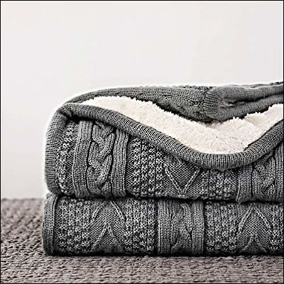 Gray Cable Knit Fleece Throw Blanket