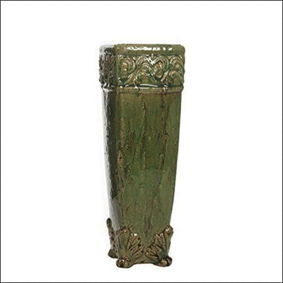 Green Glazed Drip Tabletop Flower Vase