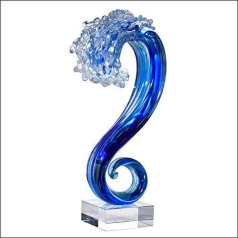 Hand-blown Pacific Wave Tabletop Sculpture