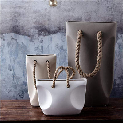 Handbag Rope-handle Tabletop Flower Vase