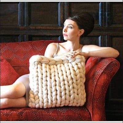 Handmade King Size Knitted Throw Pillow