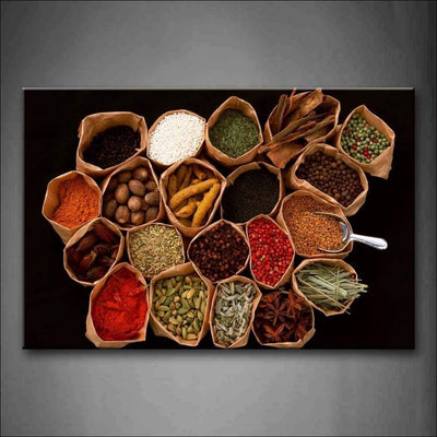 Herbs & Spices Framed Canvas Painting