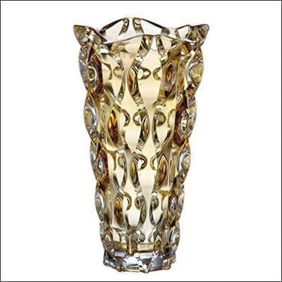 Honey Amber Crystal Glass Tabletop Flower Vase