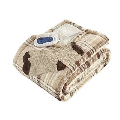 Hypoallergenic Sherpa Heated Throw Blanket - Electric