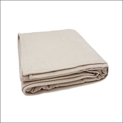 Ivory Herringbone Merino Wool Cashmere Throw Blanket - 90 x 60 Inches