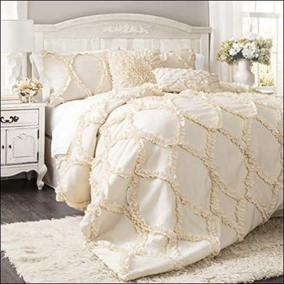 Lush Decor Avon Comforter Ruffled 3 Piece Bedding Set with Pillow Shams - King - Ivory - Home