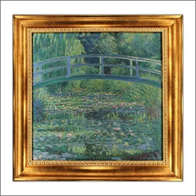 Japanese Footbridge Victorian Gold Framed Canvas Painting