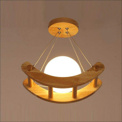 Kid's Wooden Boat Ceiling 3D Moon Lamp