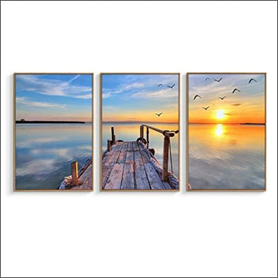 Lake Sunset 3PC Framed Canvas Painting