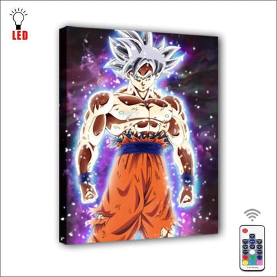 LED Super Saiyan Goku Framed Canvas Painting