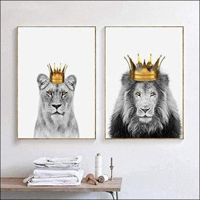 Lion King & Queen 2PC Canvas Wall Art - 19.7 x 27.6 Inches