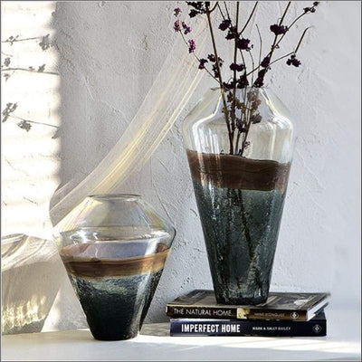 Luxury Ice Crack Glass Tabletop Flower Vase