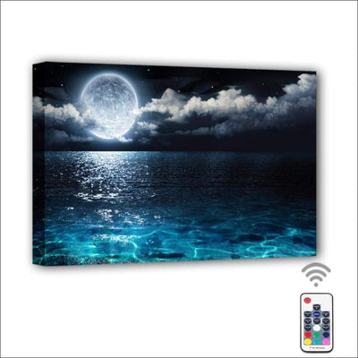 Moon Cloud Ocean Framed LED Canvas Painting