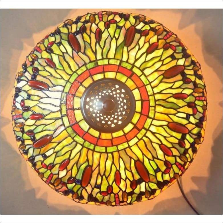 Morning Glory Dragonfly Stained Glass Table Lamp