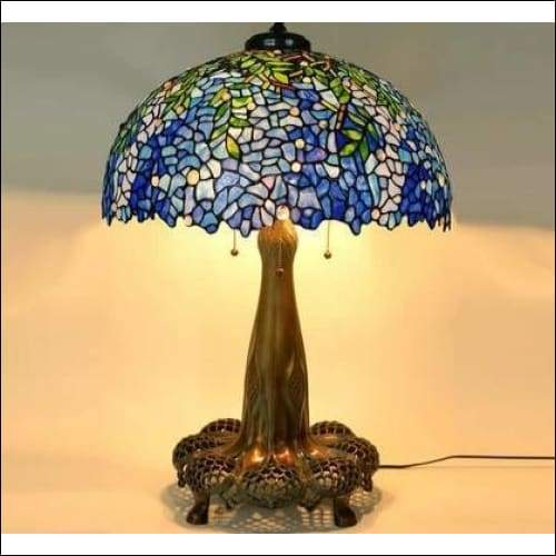 Morning Glory Dragonfly Stained Glass Table Lamp - Lamps & Lighting