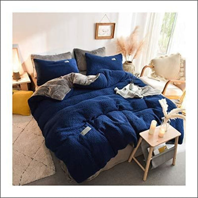 Navy Blue Lamb Cashmere 4PC Bedding Set