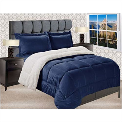 Navy Blue Sherpa Microsuede 3PC Bedding Set