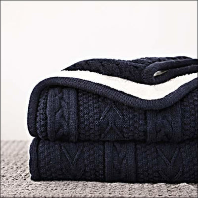 Navy Cable Knit Fleece Throw Blanket