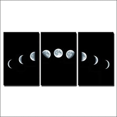 Nine Moon Phases 3PC Framed Canvas Wall Art - Painting