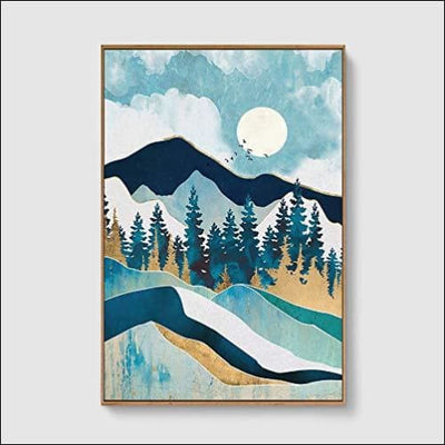Nordic Mountains Framed Canvas Painting