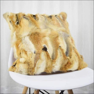 Plush Genuine Real Fox Fur Pillow Cover