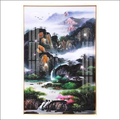Porcelain Crystal Garden Mountain Framed Canvas Painting