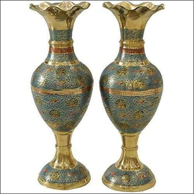 Pure Copper Gold 2PC Tabletop Flower Vase Set