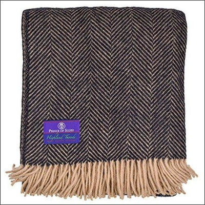 Pure Highland Tweed Herringbone Throw Blanket