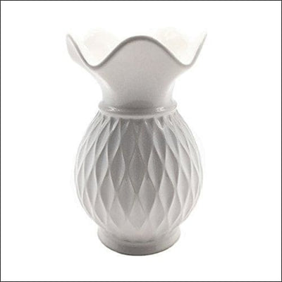 Pure White Grid Tabletop Flower Vase