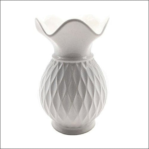 Pure White Grid Ceramic Flower Vase - Home & Garden