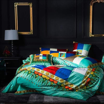 Rainbow Embroidery Duvet 4PC Bedding Set