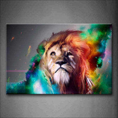 Rainbow Lion Framed Canvas Painting