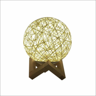 Rattan Threaded 3D Moon Lamp