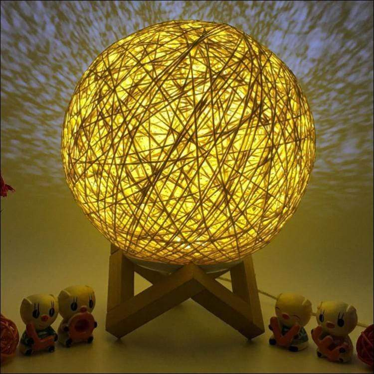 Rattan Threaded 3D Moon Lamp - Lamps & Lighting