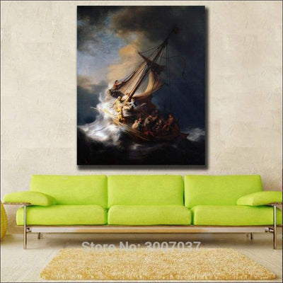 Rembrandt Storm on the Sea of Galilee Framed Canvas Painting