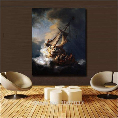 Rembrandt Storm on the Sea of Galilee Framed Canvas Painting - Canvas Paintings Under $10,000