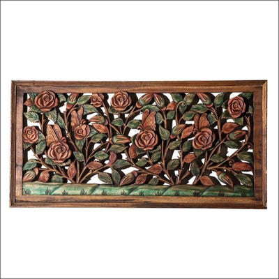 Rose Garden Carved Wooden Canvas Painting