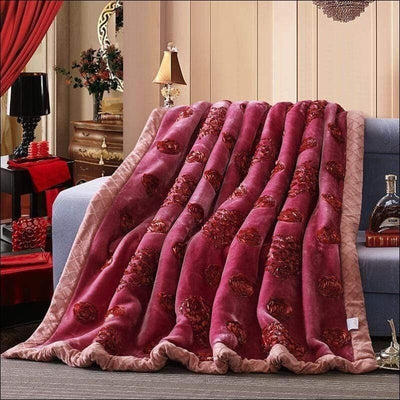 Rose Heart Embroidered Acrylic Mink Throw Blanket