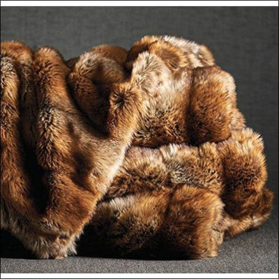 Sable Coyote Fox Lynx Faux Fur Throw Blanket - 50W x 70L