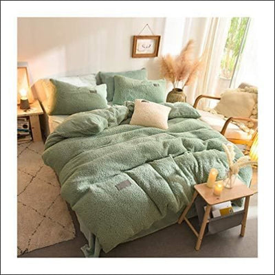 Sage Green Lamb Cashmere 4PC Bedding Set