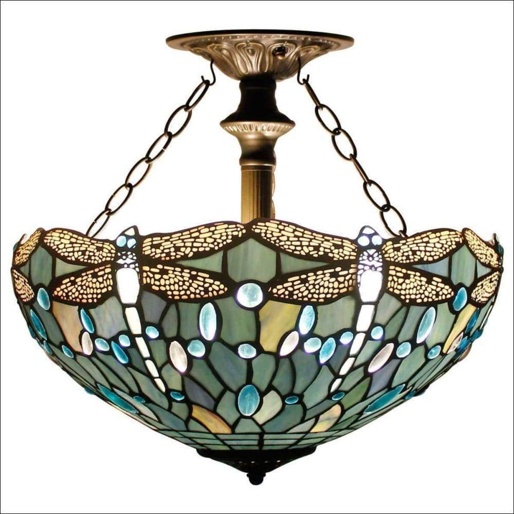 Sea Blue Stained Glass Ceiling Lamp - Ceiling Lamps