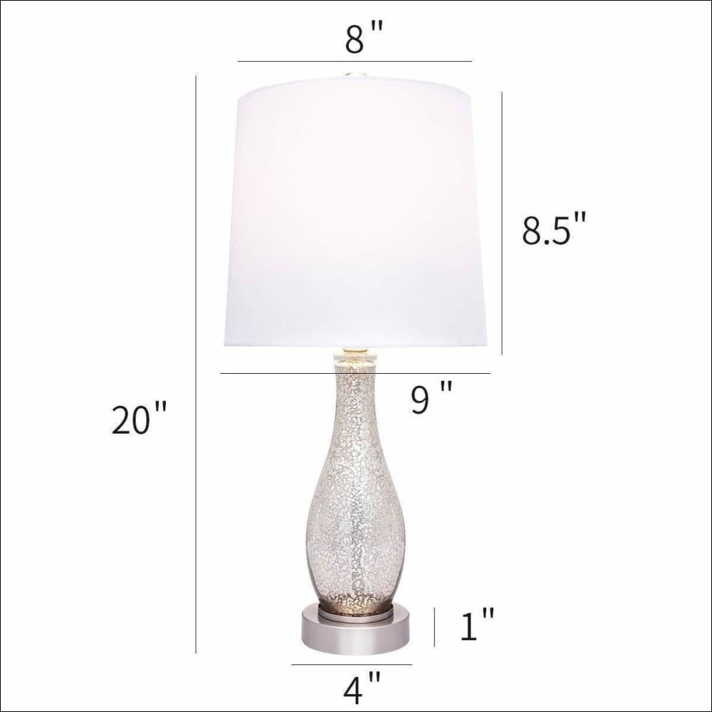 Set of 2 Sand Nickel Glass Table Lamp - Lamps & Lighting